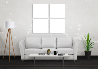 Four isolated wall art canvas mock up. Sofa, lamp, plant and table in room interior.