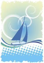 Blue yacht.Abstract regatta poster
