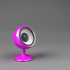 magenta speaker on pedestal over grey