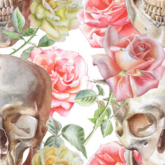 Seamless pattern with watercolor skull and roses