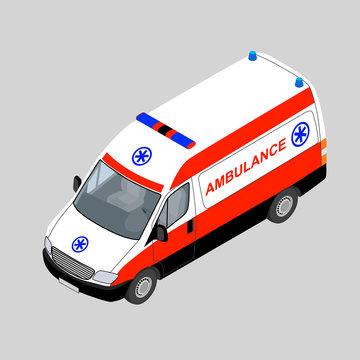 3D isometric ambulance car isolated. Vector illustration.