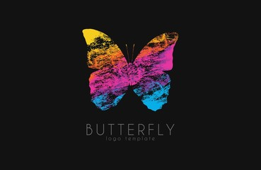 Colorful butterfly. Butterfly logo. Rainbow logo. Creative design logo. Logo in grunge style