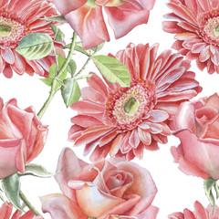 Gerbera and rose. Seamless pattern.