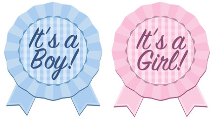 "Baby announcement rosette ribbon with ""It's a Boy or ""It's a Girl"" text in blue and pink with gingham background"