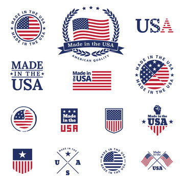 Made in the USA - signs and labels vector collection.