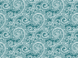 Beautiful seamless pattern with hand drawn abstract scroll flowe