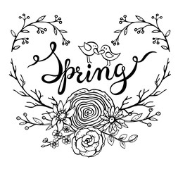 Hand lettering word Spring with floral wreath and two birds