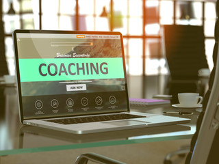 Coaching Concept Closeup on Laptop Screen in Modern Office Workplace. Toned Image with Selective Focus. 3D Render.