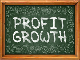 Green Chalkboard with Hand Drawn Profit Growth with Doodle Icons Around. Line Style Illustration.