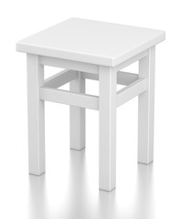Gray square stool on 4 legs isolated on white background