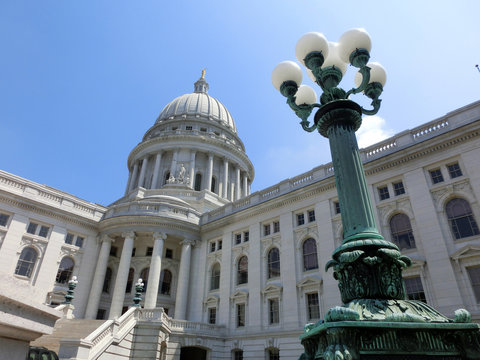 Madison Wisconsin capitol building exterior with lamp post - landscape color photo