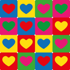 Colorful hearts symbols on the colorful rectangular backdrops. Happy Valentine's Day Greeting Card. Digital background vector illustration.