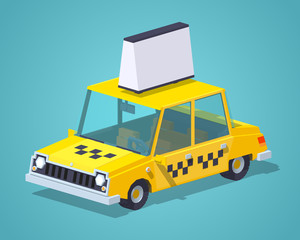 Taxi old sedan against the blue background. 3D lowpoly isometric vector illustration
