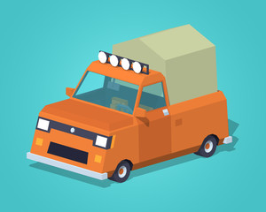 Orange pickup with tent against the green background. 3D lowpoly isometric vector illustration