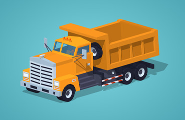 Empty orange dumper against the green background. 3D lowpoly isometric vector illustration