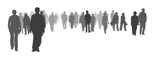 Silhouette - Gemischte bunte Menschengruppe frontal, Menschenmenge, große Gruppe geht vorwärts