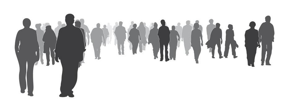 Silhouette, gemischte Menschengruppe frontal, Menschenmenge, große Gruppe von Menschen geht vorwärts, Gemeinschaft, Zusammenhalt, Werte, anonym, Stärke zeigen, Solidarität, Integration, Demonstration