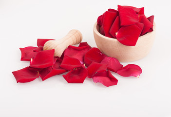 Rose petals and mortar, spa theme