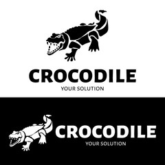 Vector logo crocodile. Brand logo in the shape of a crocodile