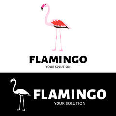 Vector logo Flamingo. Brand logo in the shape of pink Flamingo