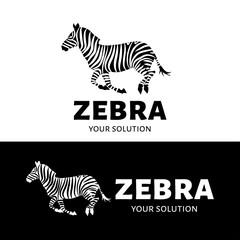 Vector logo Zebra. Brand logo in the form of a prancing Zebra.