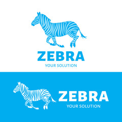 Vector logo Zebra. Brand logo in the form of a prancing Zebra. Blue style
