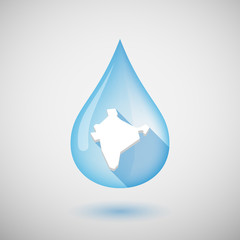 Long shadow water drop icon with  a map of India