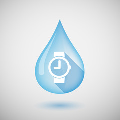 Long shadow water drop icon with a wrist watch