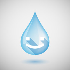 Long shadow water drop icon with a smile text face