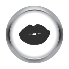 Lips kiss simple icon on colorful background