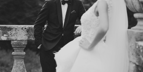 Groom and bride walking together. Wedding. Happy newlyweds.