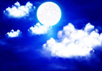 full moon illuminates the night cloudy sky