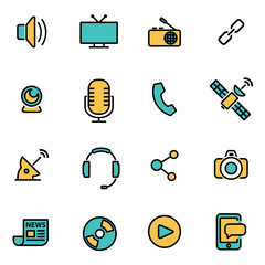 Trendy flat line icon pack for designers and developers. Vector line media set