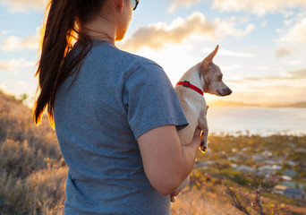 Girl holding her dog while looking out at the sunset.