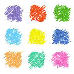 Set of colored wax crayon square design elements isolated on white. Pastel chalks hand drawing vector background. Kids hand painting pencil texture.