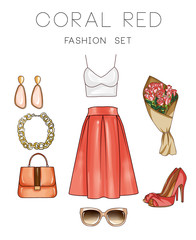 Fashion set of woman's clothes and accessories - Top, skirt, jewels, hand bag, heel shoes, sunglasses, flowers