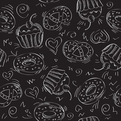 Seamless vector pattern cakes