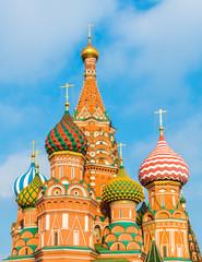 Москва, Россия. Купола Собора Василия Блаженного на Красной площади.