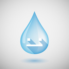 Long shadow water drop icon with a emotionless text face