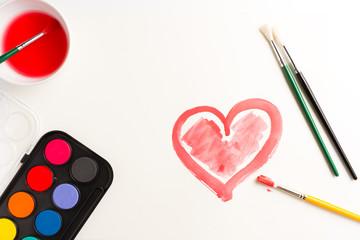 Heart painted in watercolors. Love Symbol
