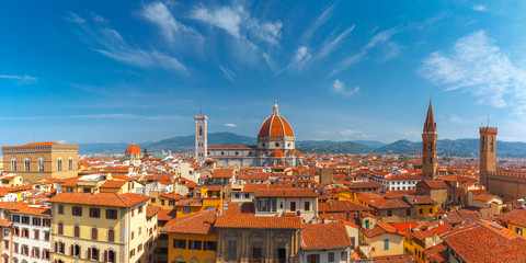 Aerial scenic panorama of Duomo Santa Maria Del Fiore, Badia Fiorentina and Bargello at morning from Palazzo Vecchio in Florence, Tuscany, Italy Fototapete