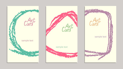Set of handmade business sample cards with hand drawing textures. Hand drawing copy space background with retro color. Crayon pastel chalk art lines and design elements, vector.