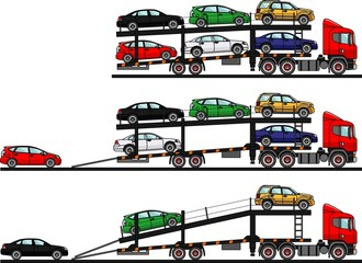 Set of auto transporters isolated on white background in flat style in different positions. Vector illustration.