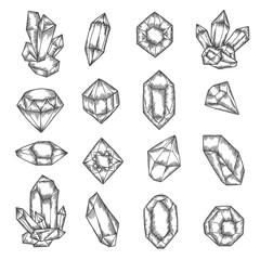 Hand drawn crystals graphic set. Vector vintage illustration.
