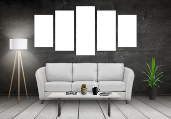 Five isolated art canvas on white wall. Sofa, lamp, plant, glasses, book, coffee on table in room interior.