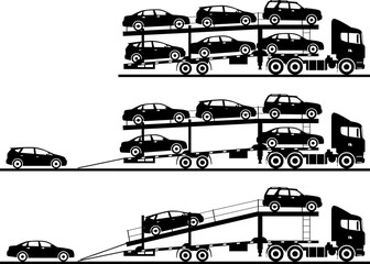 Set of silhouettes auto transporters isolated on white background in flat style in different positions. Vector illustration.