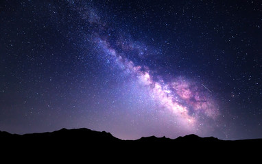 Landscape with Milky Way. Night sky with stars at mountains