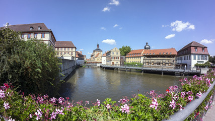Street view of a old historic town Bamberg in Bavaria, Germany.