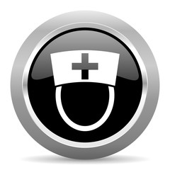 nurse black metallic chrome web circle glossy icon