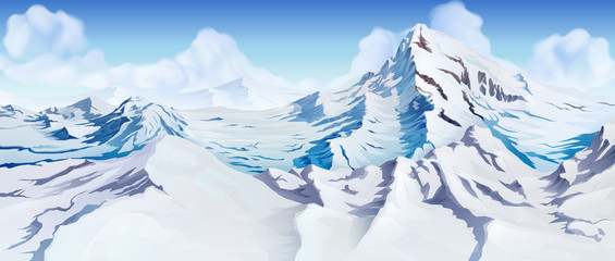 Snowy mountain peaks, vector background